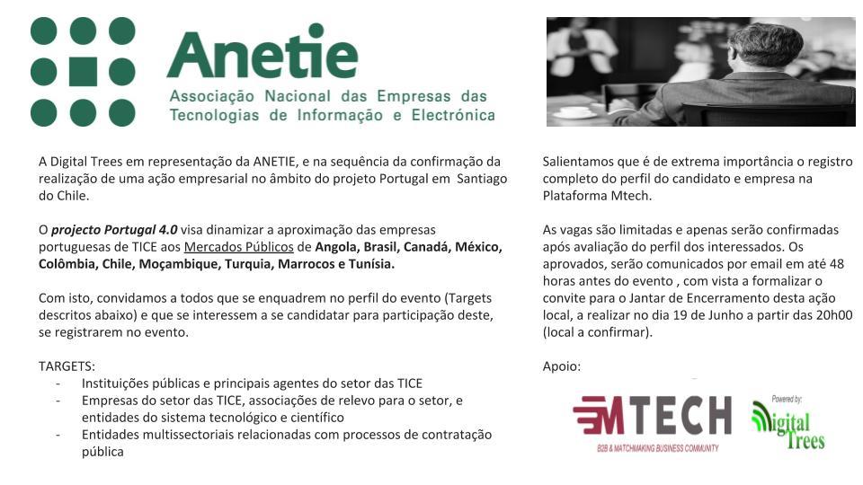 projecto Portugal 4.0 - Santiago do Chile